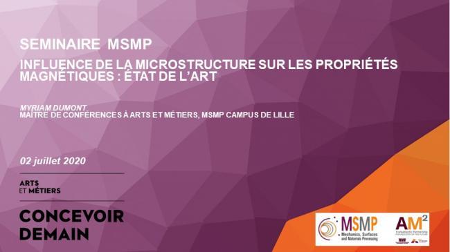 SEMINAIRE  Influence de la microstructure sur les propriétés magnétiques : état de l'art  | MSMP Lille